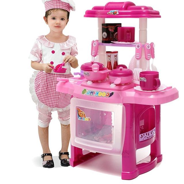 Nuevo 37*21*47 CM Del Cabrito Niños Pretend Papel de Cocina de Juguete Juego de Cocina Conjunto Con Luces de Sonido Electrónico DIY Niños Pretend Juguete