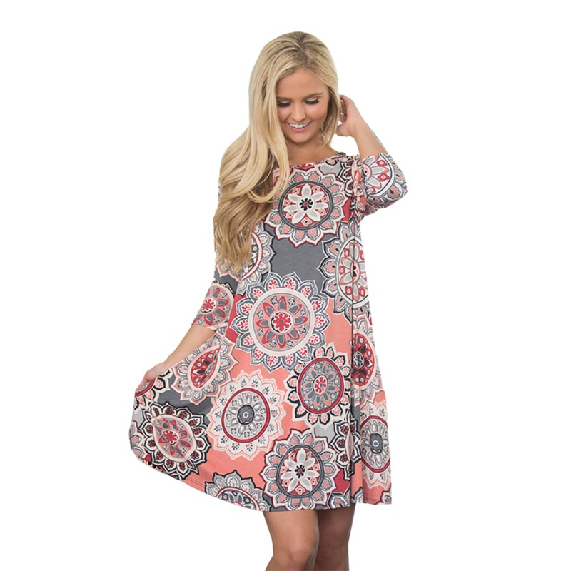 Half Sleeve Boho Beach Dress Women Floral Print Mini Summer Dress 2018 New A line Casual Chiffon Dresses Vestidos Mujer