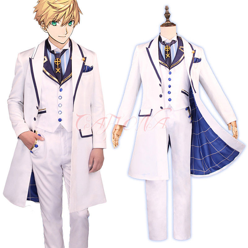 Cafiona FGO Fate Grand Order King Arthur Pendragon Cosplay Costume Cool Man White Suits