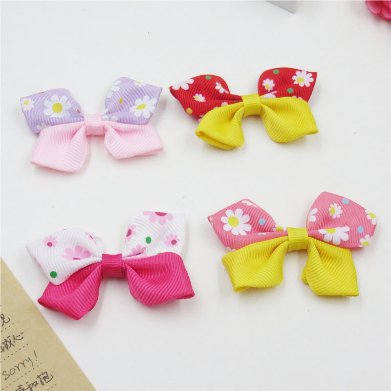 9PCS/LOT Double Color Butterfly Flowers WITHOUT CLIP Girl Hair Accessory Bow For Best DIY Headdress Products 2018 Accessories