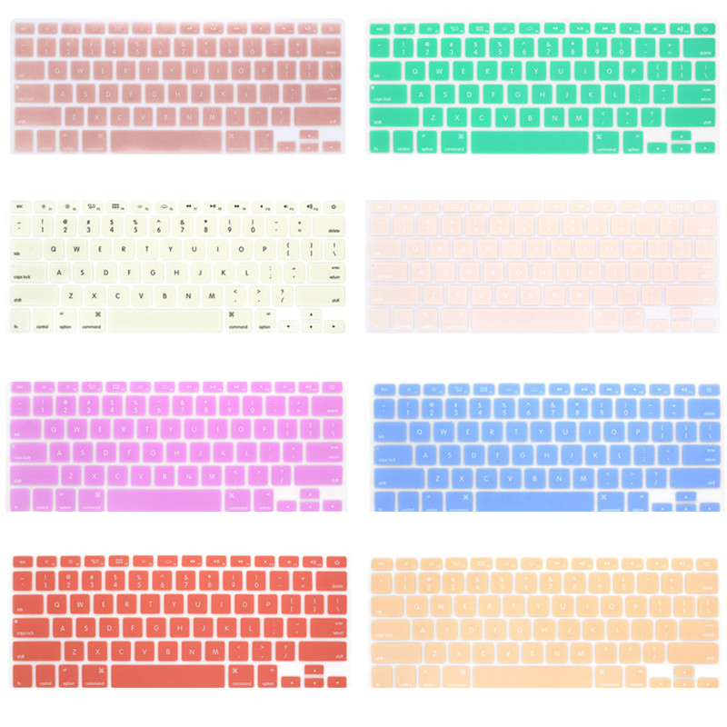 Silicone Keyboard Cover Protector Skin for Apple Macbook Pro MAC 13 15 Air 13 Soft keyboard stickers 9 Colors-3