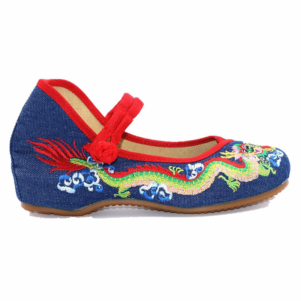 Chinois Jane Bride Bout Cru Mary denim Blue Dragon Brodé green Black Toile Cheville red Ethnique Pompes Coins Femmes Chaussures De À Dames white Rond Casual La rU7qr8wT