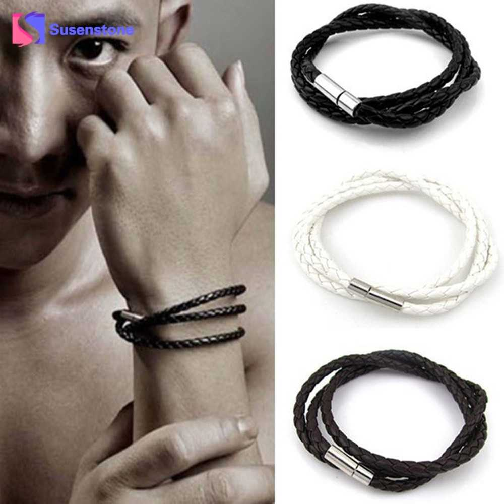 Новый многослойный браслет с подвеской мужской кожаный браслет ручной работы круглый веревочный браслет подарок Горячая Распродажа