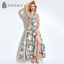 Vintacy Women's Maxi Dress Halter Flower Print Ankle-Length Sleeveless 2018 Modern Fashion Female Girls Women's Maxi Dress
