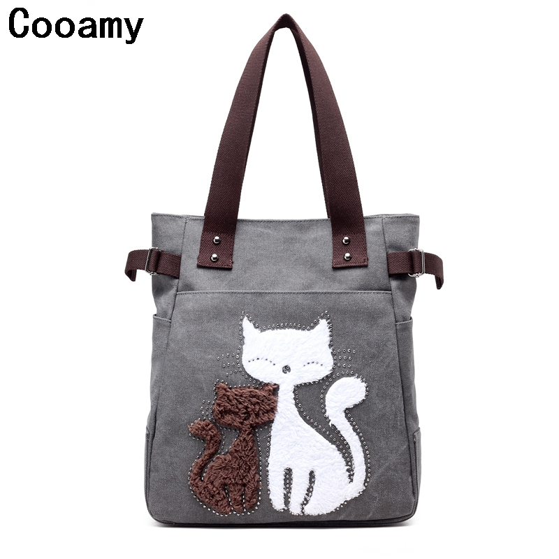 Canvas Bag Tote Cute Cat Women Handbags Large Women Shoulder Bag New Fashion Sac a Main Femme De Marque Casual Bolsos Mujer national chinese style bags embroidery flowers handbags ethnic canvas handmade tote women s handbags sac a dos femme