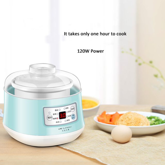 220V Multifunction Slow Cooker Electric Cooking Pot Ceramic Liner  Water Steam Stewing Soup Porridge Baby Food Cooking Machine 3