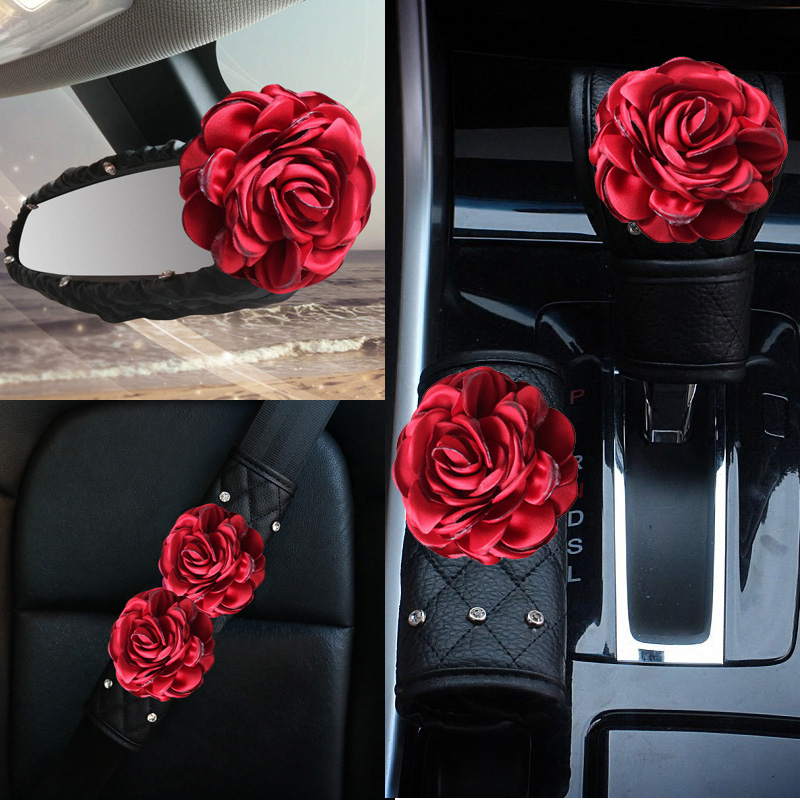 Red Rose Flower Crystal Car Seat Belt Cover HandBrake Shifter Covers Sets Rhinestone Auto Interior Accessories For Women Girls