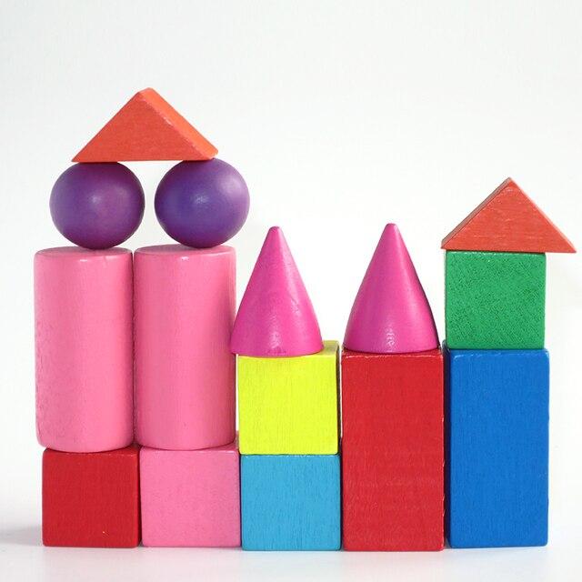 15 unids/set juego de mesa de madera de sólidos geométricos Montessori educación juguetes de matemáticas juego de mesa para niños Juego de bloques de construcción