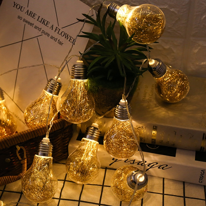 Retro Gold Transparent Bulb Solar Lamp Power LED String Fairy Lights Solar Garlands Garden Christmas Decor For Outdoor luminaria