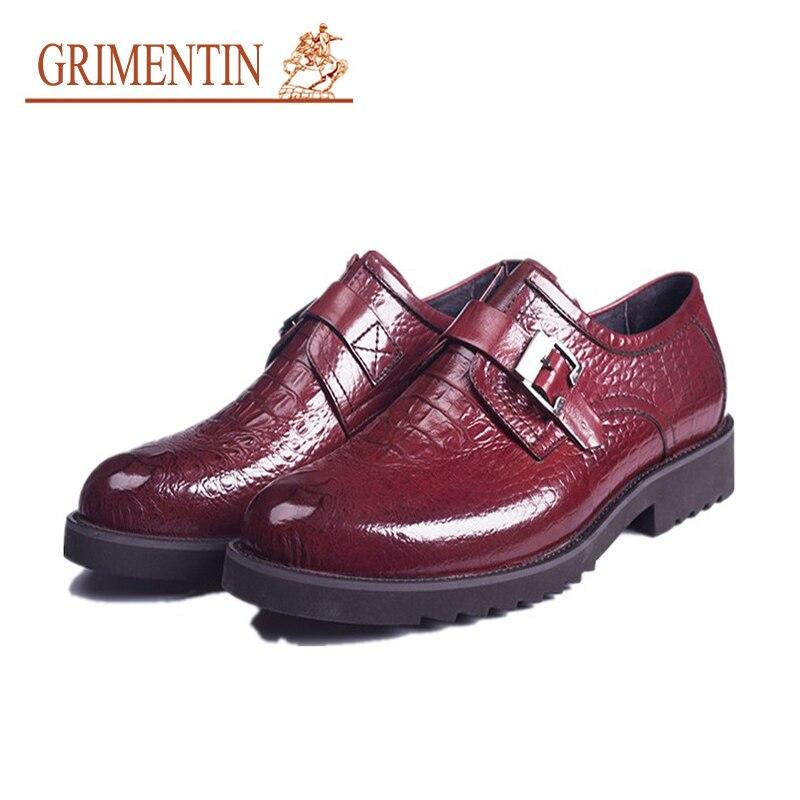 c35334f88 GRIMENTIN اللباس أحذية الرجال العلامة التجارية مشبك حزام أسود الرجال الذكور  الأزياء والأحذية مصمم حذاء رسمي