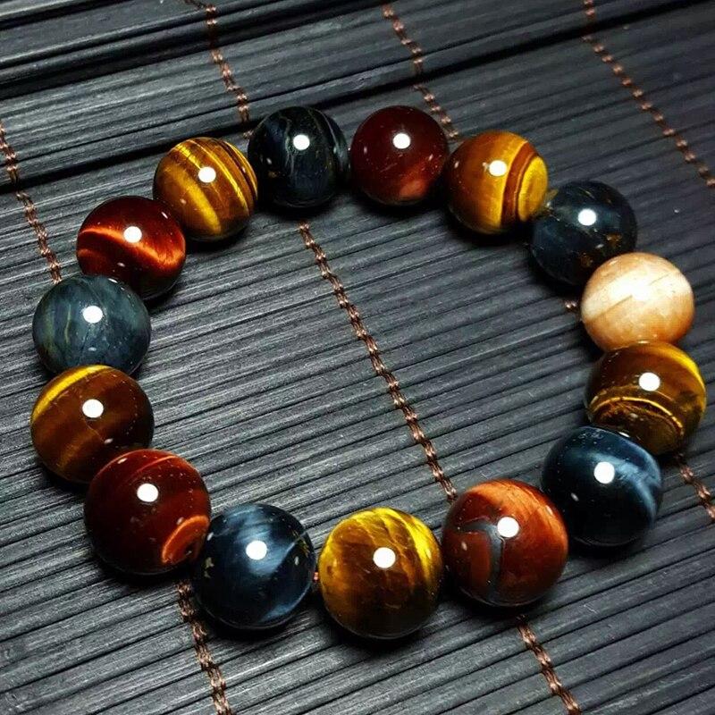 JoursNeige Natürlichen Tigerauge Armband 14mm Perlen Schmuck Zubehör Multi Farbe Tigerauge Stein Männer Frauen Armband