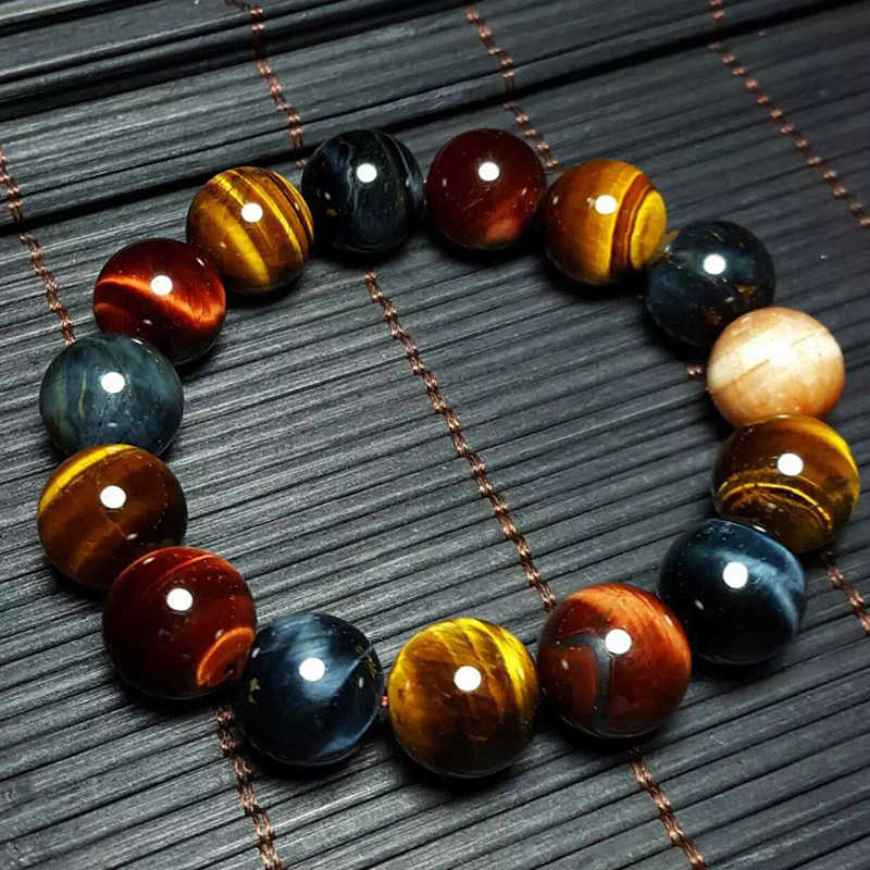 JoursNeige Natural Tiger Eye Bracelet 14mm Perlas Accesorios de Joyería Multi Color Tiger Eye Stone Hombres Mujeres Pulsera