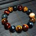 Natural Tiger Eye Pulseira 14mm Contas Acessórios Jóias Multi Color Pedra Olho de Tigre Pulseiras para As Mulheres Pulseira Jade