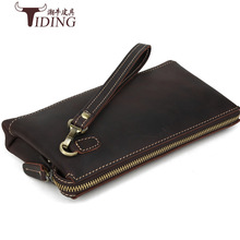 TIDING Vintage Genuine Crazy Horse Leather Men Business Clutch Bag Handbag Retro Cowhide Leather Purse Wallet 2016 New Free Ship