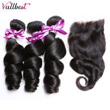 Vallbest Brazilian Loose Wave Bundles With Closure Free/Middle Part Closure And Bundles Remy Human Hair 3 Bundles With Closure(China)