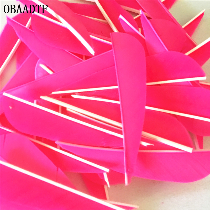 50Pcs 3 inch Water Drop Turkey Feather Colour Pink High Quality Real Feather Arrow Feathers Vanes Archery in Bow Arrow from Sports Entertainment
