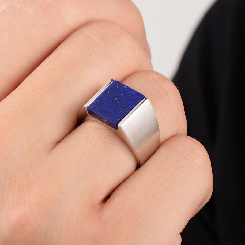 Серебряный Мужской натуральный Лапис кольцо инкрустированное кольцо мужской японский и корейский волна людей личность властная серебряны