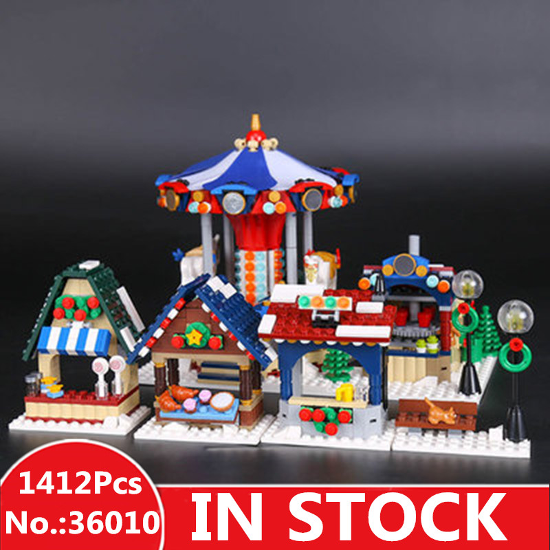 H&HXY IN STOCK DHL 36010 1412pcs Christmas Winter Village Market Carousel Model Building Blocks Bricks Toy For Children lepin 36010 lepin 1412pcs the winter village market model building blocks classic enlighten figure toys for children compatible legoe