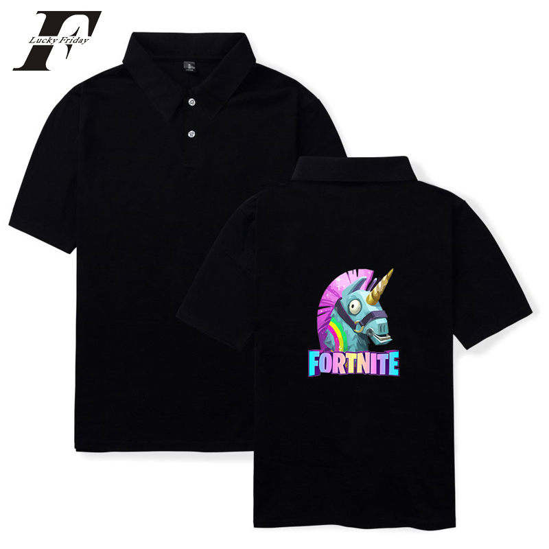 LUCKYFRIDAYF 2018 BTS Fortnite Lovely Horse Summer Polo Shirt Popular Shooting Game Polo Shirt Popular Short Shirt Man Pure