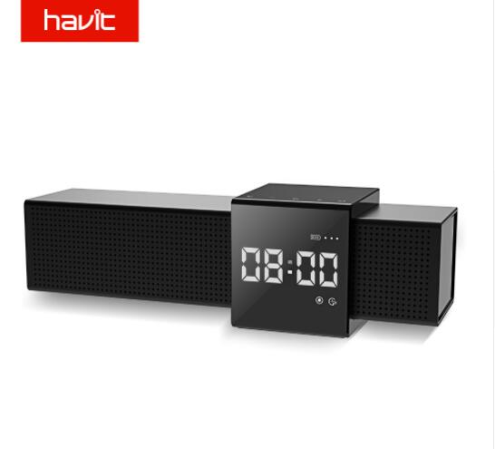 HAVIT-M28 Portable Bluetooth V4.1 Speaker 3D Stereo Wireless Audio Player with Time Display Clock Alarm