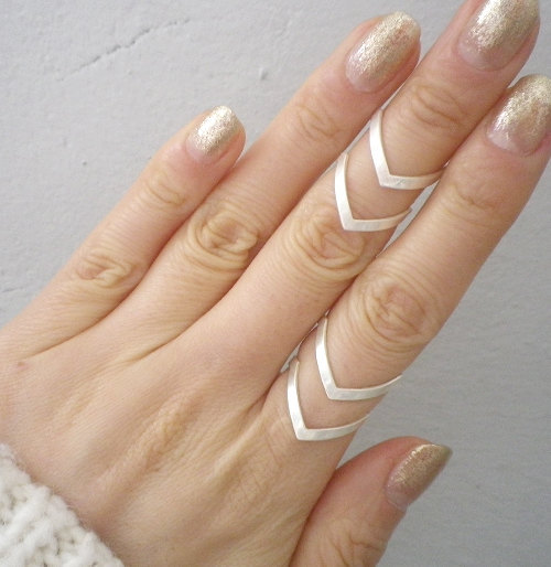 New Fashion Boho Double Lines V Chevron Rings