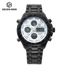 GOLDENHOUR Top Brand Luxury Mens Watches Fashion Casual Sport Wristwatch Dual Display Date Clock Army Military