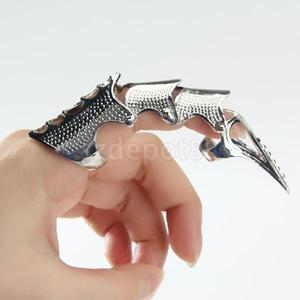 New Gothic Punk Rock Full Finger Armor Ring - Silver color