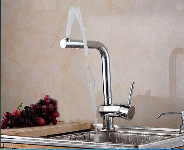 360 degree rotation 100 brass chrome polished kitchen sink faucet mixer taps 2015 new arrive 1pcs