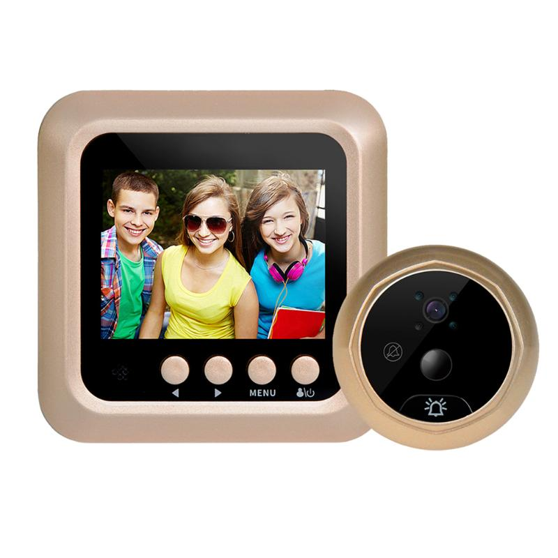 Home Security Night Vision PIR Peephole Door Camera Battery Powered Electronic Door Bell 2.4inch LCD Color Screen x5 home smart doorbell security door peephole camera electronic cat eye and hd pixels tft color screen display audio door bell