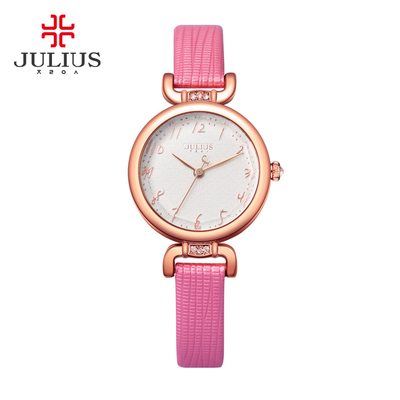 Pink Watch For Women With Gift Box Jewelry Slim Whatch For Small Wrist Fashion Watch Casual Dress Montre Femme JULIUS JA-854 цена
