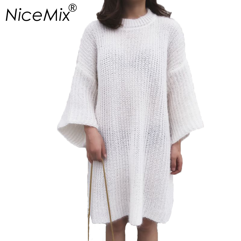 NiceMix 2018 Autumn Winter Sweater Dress Women Casual O neck Loose Long Sleeve Knitted Pullover Dresses