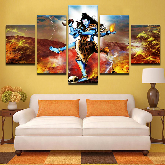 Canvas Home Decor HD Prints Posters Modern Pictures 5 Pieces India God  Shiva Abstract Painting Frame