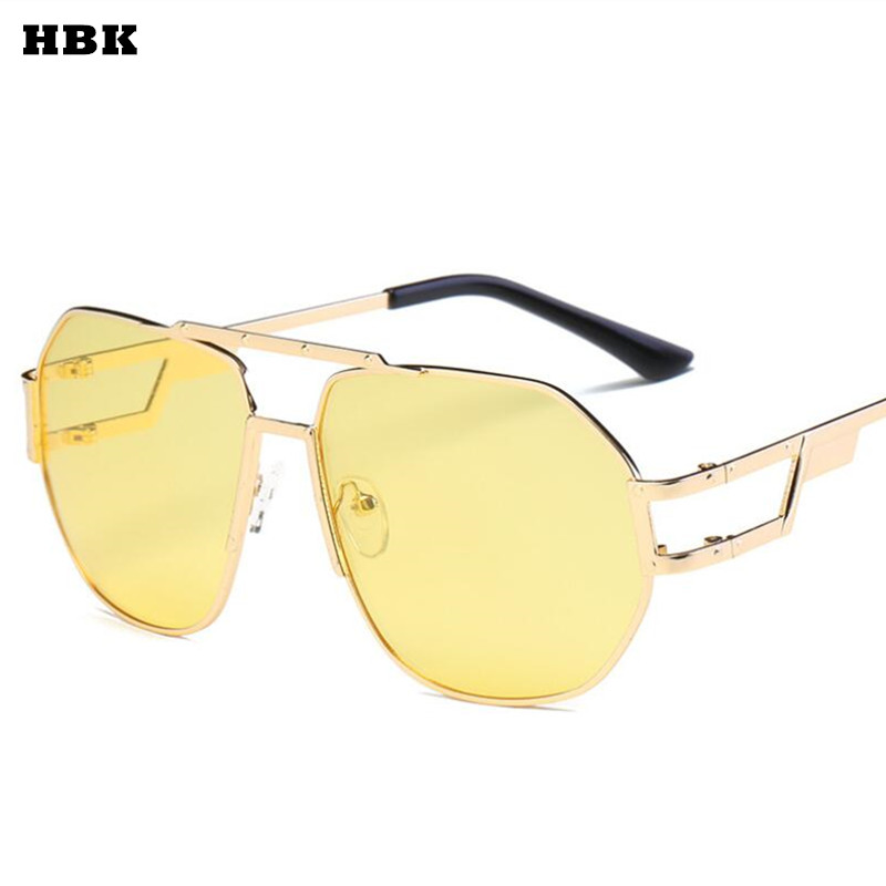 HBK Retro Rivet Flat top Sunglasses Women Fashion Brand Vintage Sun Glasses Female Gold Optical Glasses Frame Brown Yellow