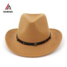14f88c1a88d QIUBOSS Autumn Winter Wool Felt Western Cowboy Hat Roll Brim Jazz Fedora  Cap Men Women Carnival