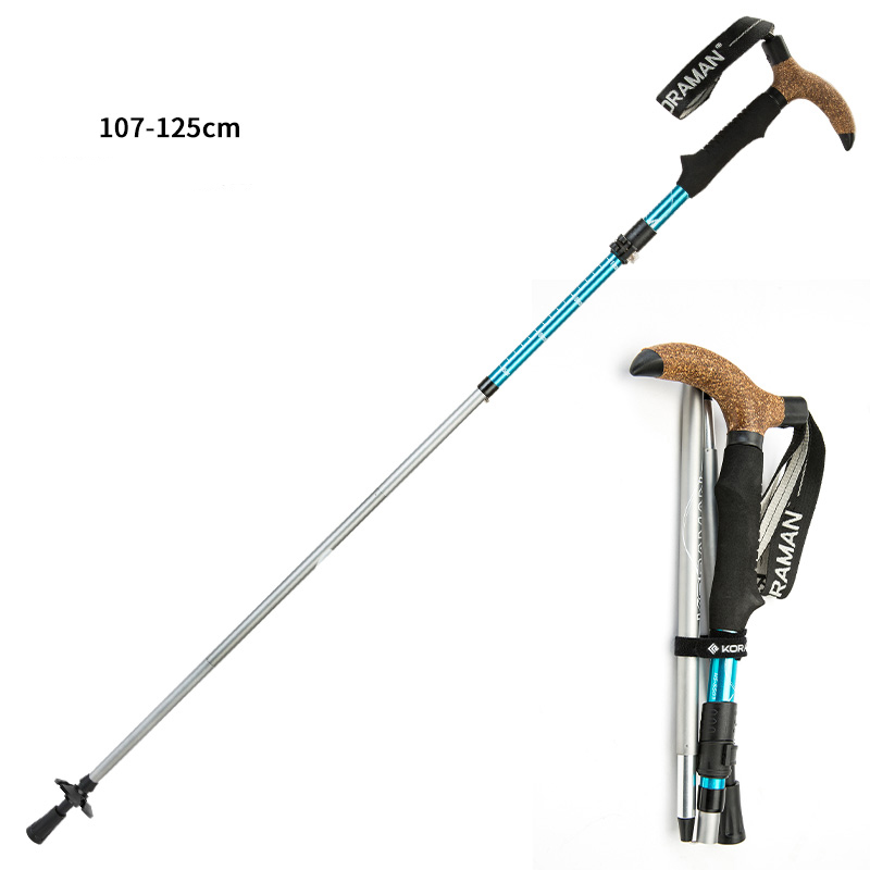 KORAMAN T-handle Anti Shock Walking Stick Telescopic Folding Cane Trekking Hiking Poles Ultralight Walking Canes Adjustable5503 цена 2017