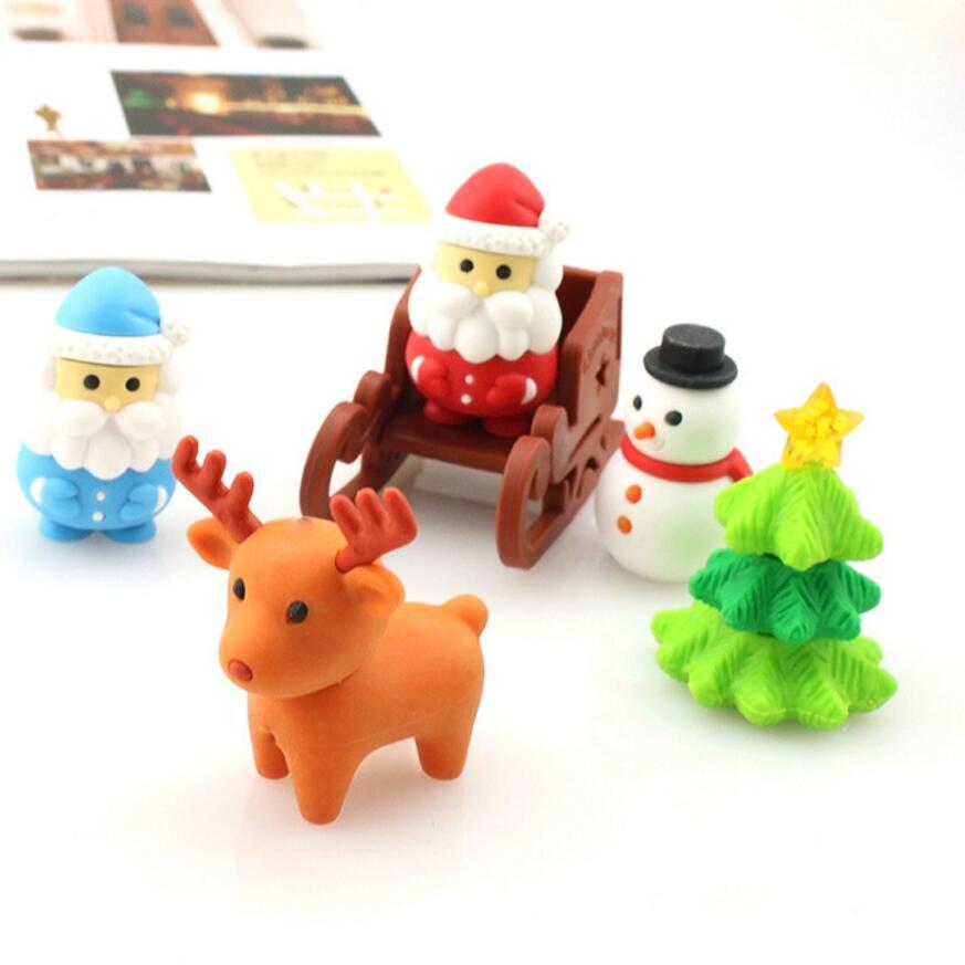5 Pcs Lot Cute Cartoon Eraser Deer Santa Christmas Tree