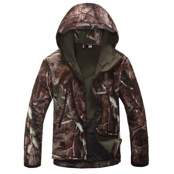 The new shark skin soft shell jacket camouflage large leaves lurker shark skin soft shell v4 military tactical jacket men waterproof windproof warm coat camouflage hooded camo army clothing