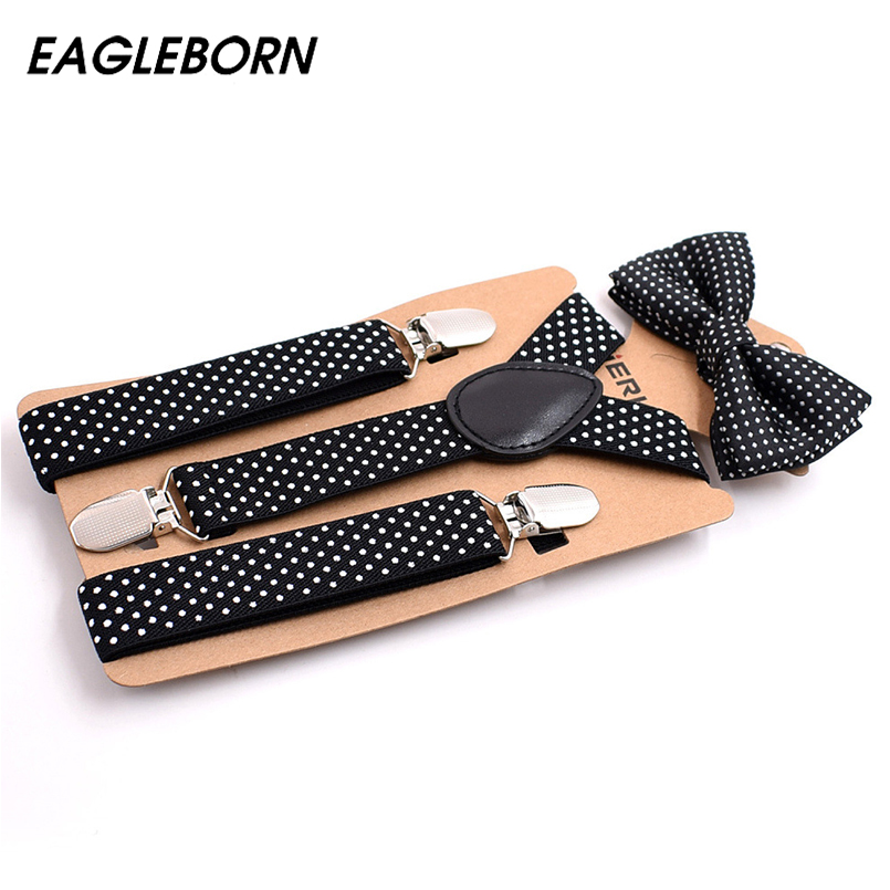 2018 Suspenders and Bow Tie Set Braces Elastic Y-back for Children Kids Wedding Lovely Suspenders Bowties
