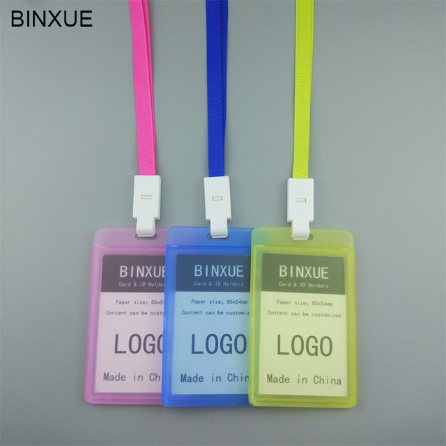 BINXUE Employees card Cover card Transparent Double view Hard ID ...