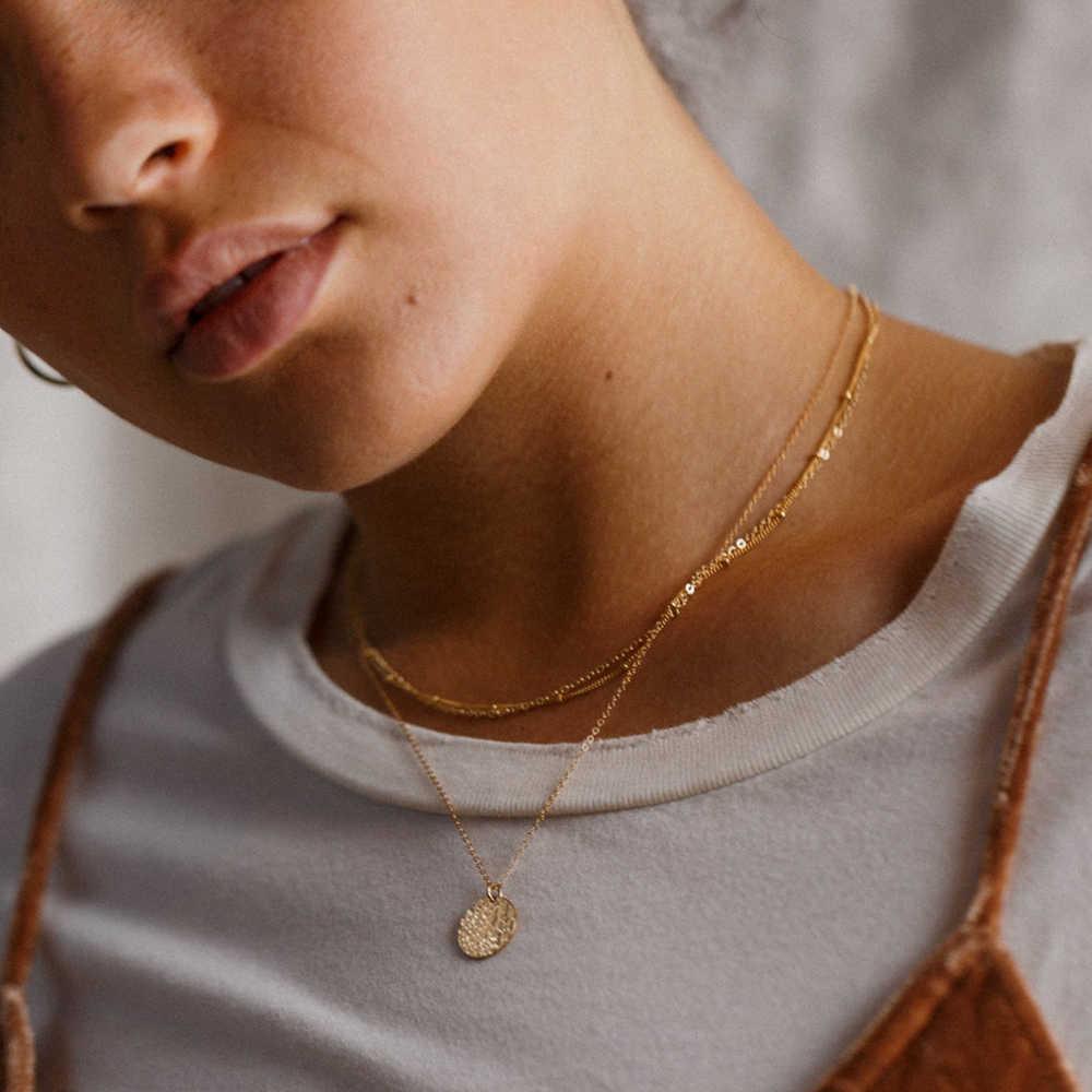 E-manco koreański styl naszyjnik ze stali nierdzewnej kobiety wisiorki warstwowy naszyjnik najlepszy przyjaciel dainty choker naszyjnik