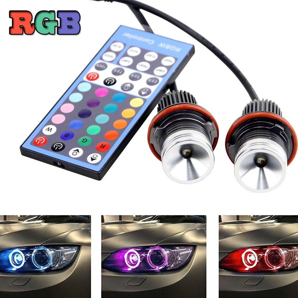 2Pcs led angel eyes For bmw e39 RGB Multi-color IR Remote LED angel Halo Bulb For BMW E39 E53 E60 E61 E63 E64 E65 E66 X5 water pump for bmw e60 e63 e64 e65 e67 e70 spare parts 11517586779