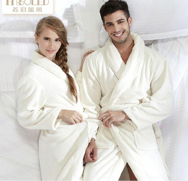 Merveilleux Unisex Bath Robe Women Coral Flannel Bathroom Robe Bathrobe Men Coral  Fleece Pajama Thick Long Spa