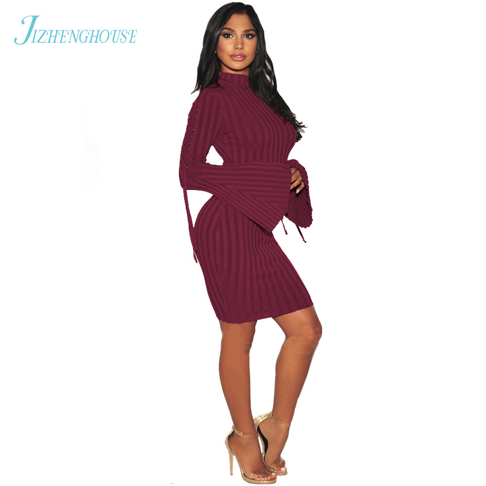 JIZHENGHOUSE Women Large Size Dress Ladies O Neck Long Sleeve Autumn Dresses Bodycon Sexy Knited Vestidos