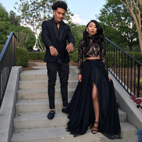 2018 New African Long Sleeves Lace Two Piece Black Evening Dress Sexy A Line Tulle Side Split Evening Prom Party Formal Gowns