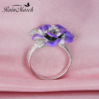 RainMarch Camellia Flower Enamel Silver Ring For Women Authentic 925 Sterling Silver Wedding Ring Handmade Party Enamel Jewelry