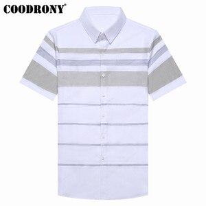 Image 3 - COODRONY Kurzarm Shirt Männer 2019 Sommer Kühl Casual Mens Shirts Streetwear Fashion Striped Camisa Masculina Plus Größe S96036