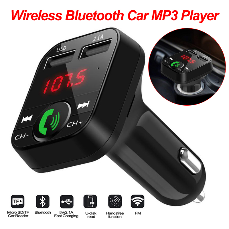 Car Kit Handsfree Wireless Bluetooth FM Transmitter LCD Player USB 2.1A Hands Free Wireless Car Mp3 Player Bluetooth