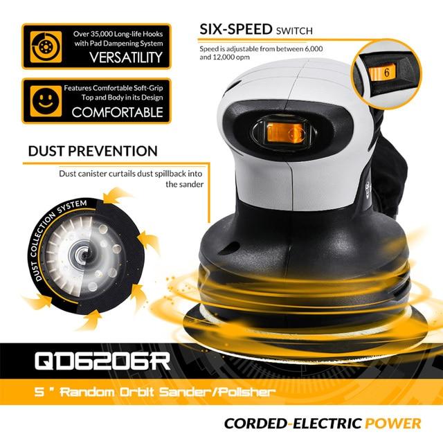 DEKO DKSD28Q1 280W Random Orbit Sander  with 15 Sheets of sandpaper Dust exhaust and Hybrid dust canister 2