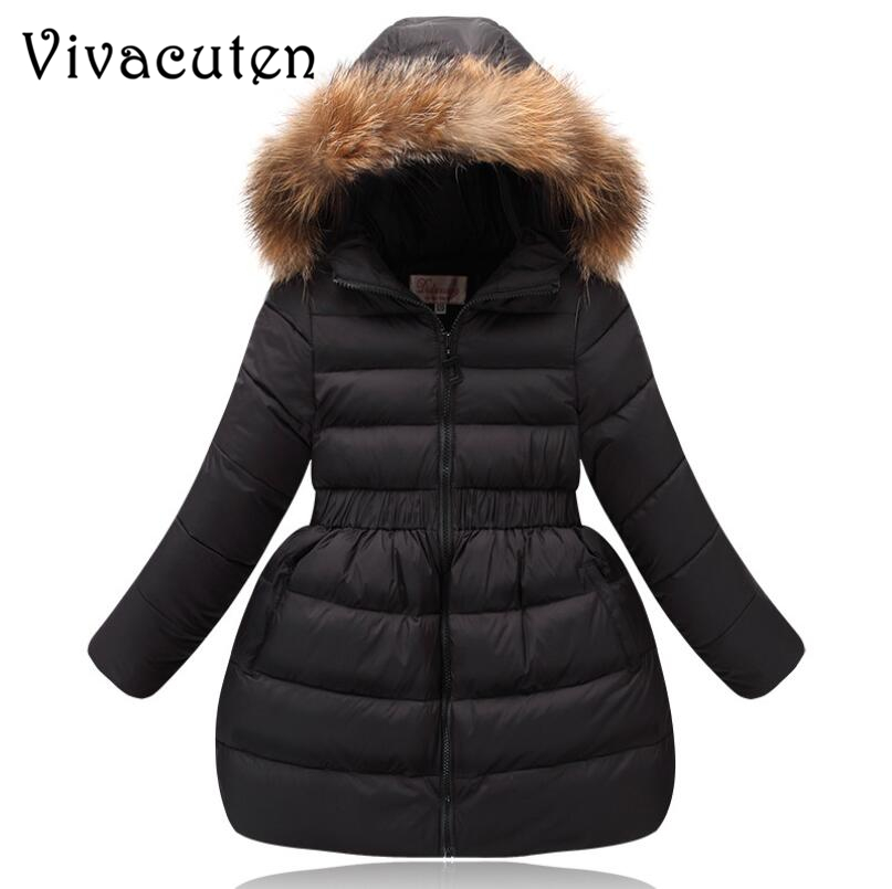Girls Winter Coat Children Clothing Kids Fake Fur Collar Hooded Thick Overcoat Winter Jackets for Girls Warm Outwear Teens Coat