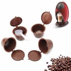 4 sztuk/paczka wielokrotnego użytku Nescafe ekspres do kawy filtr kapsułowy kubek z tworzywa sztucznego kapsułki wielokrotnego napełniania czapki łyżka filtr wielokrotnego użytku Pod|capsule dolce|capsule nescafecapsule dolce gusto -